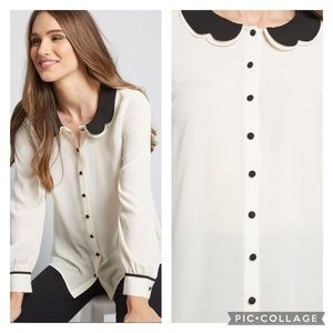 EUC ModCloth Your True Collars Ling Sleeve Blouse